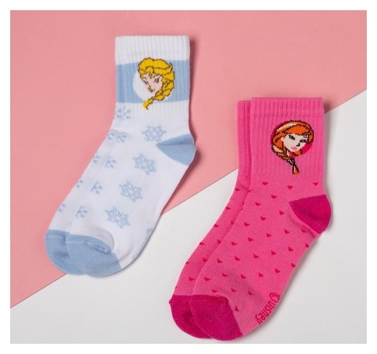 Набор носков Эльза и анна, холодное сердце 2 пары, роз./белый, 16-18 см Disney