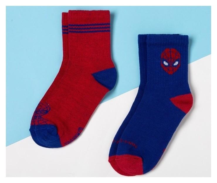 """Набор носков """"Человек-паук"""" 2 пары, красный/синий, 16-18 см  Marvel"""