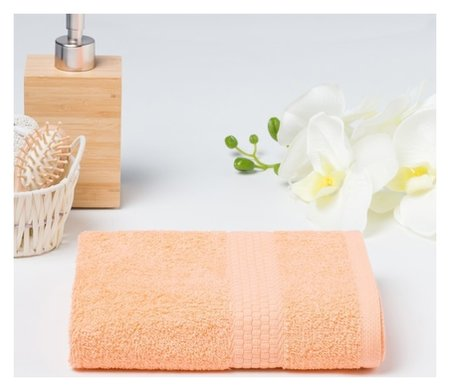 Полотенце махровое гладкокрашеное «Эконом» 50х90 см, цвет персиковый Алтын Асыр