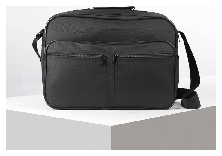 Сумка мужская, 2 отдела на молнии, 2 наружных кармана, регулируемый ремень, цвет чёрный  Miss Bag
