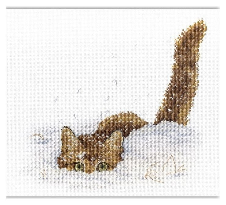 Набор для вышивания Кот в снегу, канва, нитки 13 цветов, игла, схема, инструкция М.П. Студия