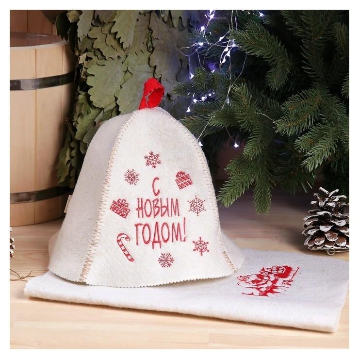 Набор банный С новым годом, снежинки ( шапка и коврик), войлок, белая Добропаровъ