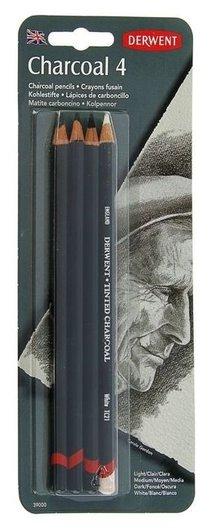 Уголь в карандаше, набор для графики Derwent Charcoal, 4 штуки (+ писательный карандаш)  Derwent
