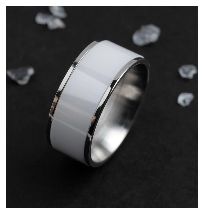 Кольцо керамика Вайд, 1см, цвет белый в серебре, 17 размер NNB