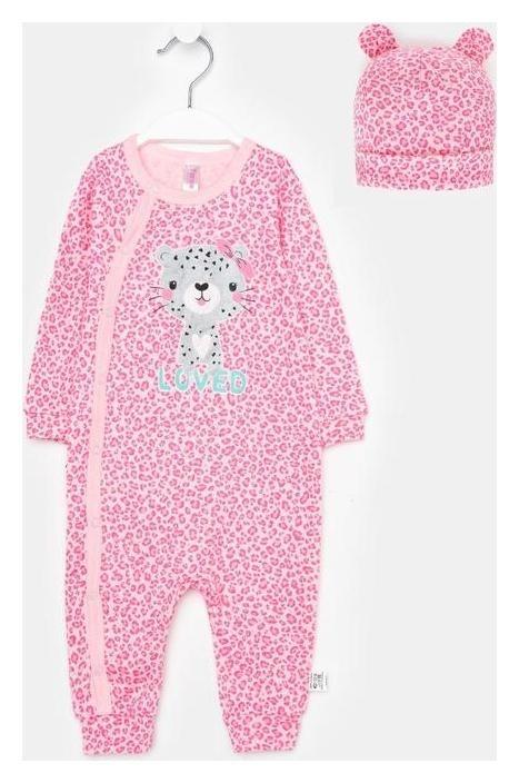 Комбинезон с шапочкой, цвет светло-розовый/леопард, рост 86 см TAKRO