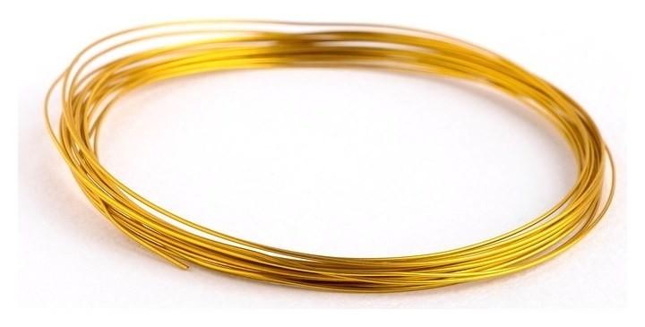 Проволока для плетения D=0.8мм, намотка 5м, цвет золотой  NNB