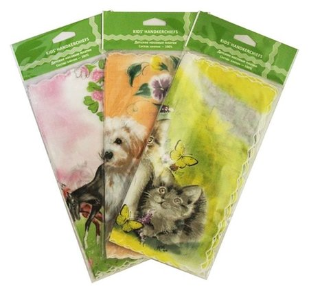 Набор детских носовых платков в коробке джи, 25х25, 3 шт. х/б  G-brand (Джи-бренд)