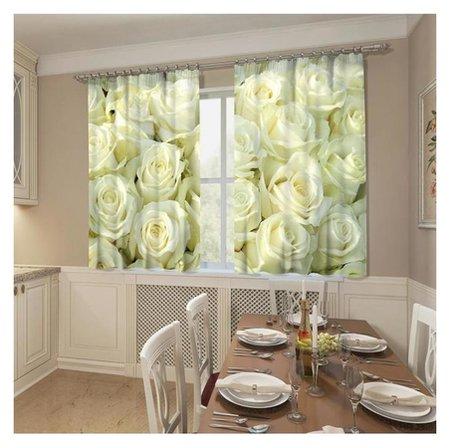 Фотошторы кухонные «Белый бархат», размер 145 х 160 см, 2шт., габардин  Стильный дом