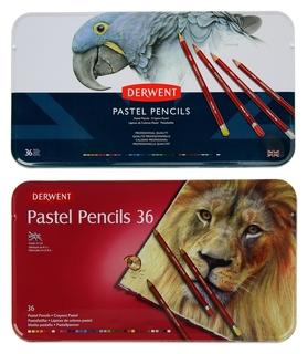 Пастель сухая художественная в карандаше, набор Derwent Pastel Hard 36 цветов, в металлической упаковке  Derwent