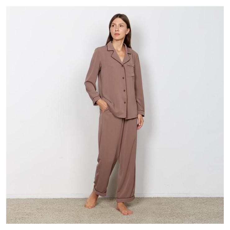 Пижама женская (Сорочка, брюки) Minaku: Light Touch цвет шоколад, р-р 50 Minaku