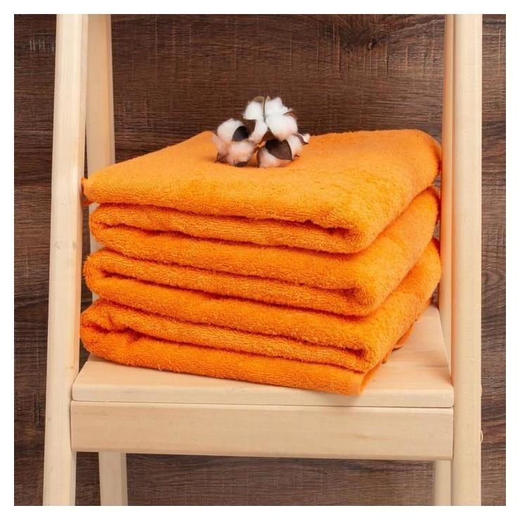 Простыня махровая гладкокрашеная 190х200 см, цвет оранжевый Алтын Асыр