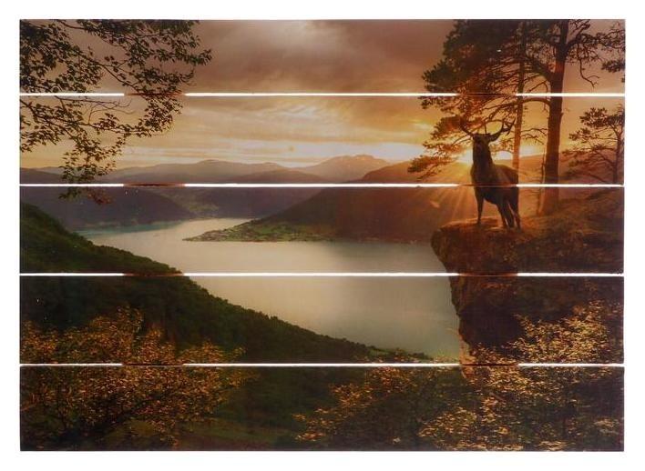 """Картина на дереве """"Олени у реки"""" 30х40 см  Дарите счастье"""
