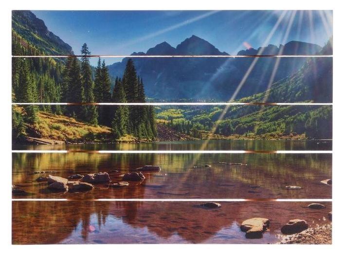 Картина на дереве Озеро в горах 30х40 см Дарите счастье