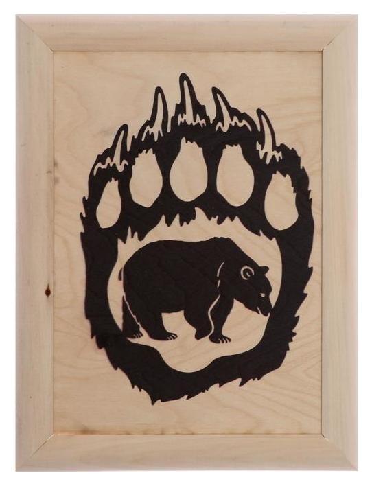 Эко картина в скандинавском стиле Медвежья лапа 21х30х3 см Дарите счастье