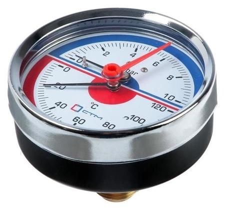 Термоманометр Ctm, аксиальный, Дк 80 мм, 1 мпа, наружная резьба 1/4, 120°с КНР