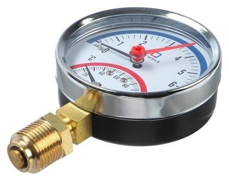 """Термоманометр """"Ctm"""", радиальный, Дк 80 мм, 0.6 мпа, наружная резьба 1/4"""", 120°с  КНР"""