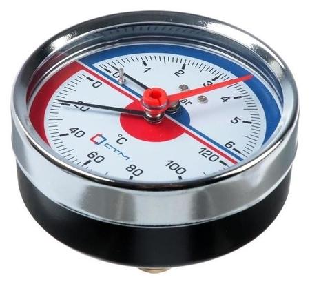 "Термоманометр ""Ctm"", аксиальный, Дк 80 мм, 0.6 мпа, наружная резьба 1/4"", 120°с  КНР"
