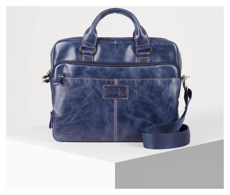Сумка мужская, отдел на молнии, 3 наружных кармана, длинный ремень, цвет синий Xl zolo