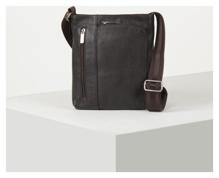Сумка мужская, отдел на молнии, 2 наружных кармана, длинный ремень, цвет коричневый Suffle