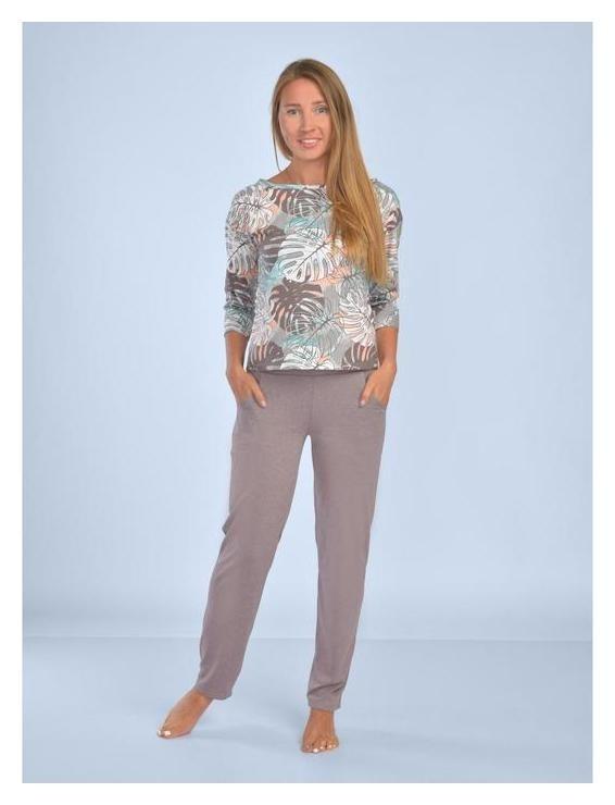 Костюм (Лонгслив, брюки) женский «Оазис» цвет светло-коричневый, размер 46  Марис