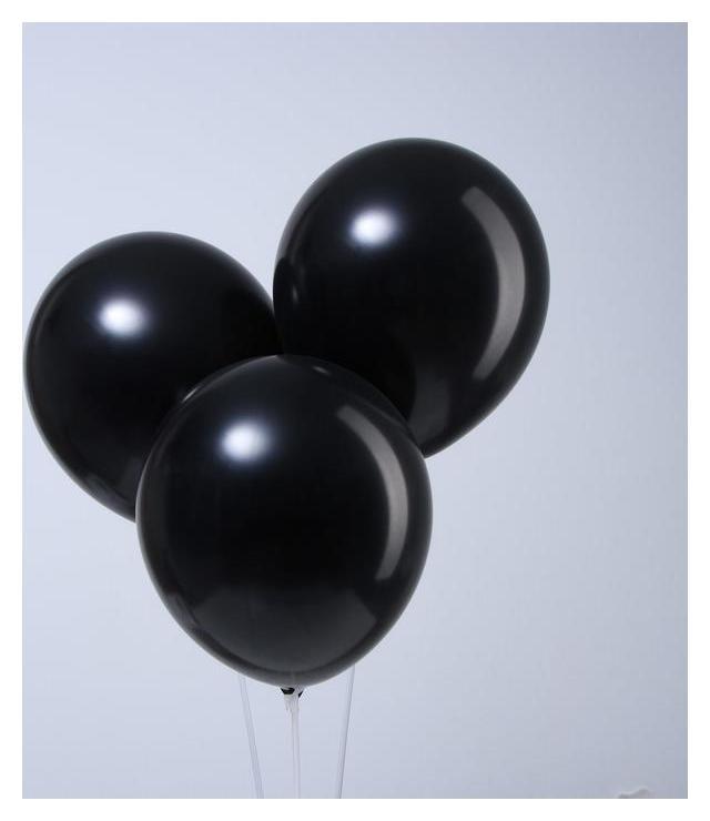 Шар латексный 12, металл, набор 12 шт., цвет чёрный Leti
