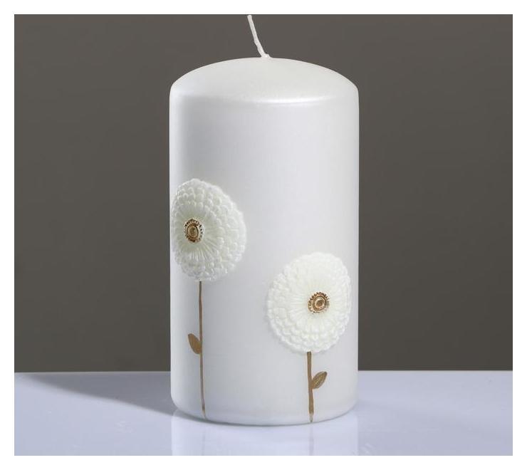 Свеча - цилиндр Одуванчики, 7×13 см, белая Poland Trend Decor Candle