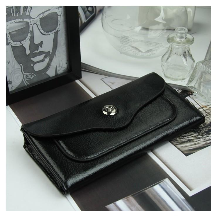 Кошелёк женский, 3 отдела, для карт, для монет, наружный карман, цвет чёрный Erich krause