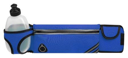 Сумка спортивная на пояс 45х9 см с бутылкой 15х8х3 см, 2 кармана, цвета синий  Onlitop