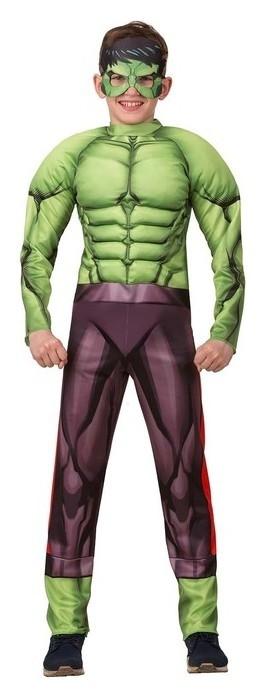 Карнавальный костюм «Халк» с мускулами, текстиль, куртка, брюки, маска, р. 32, рост 122 см  Батик