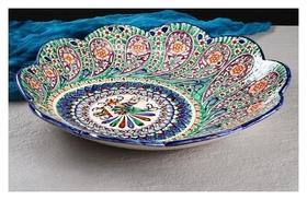 Ляган рифленый 41 см павлин  Риштанская керамика