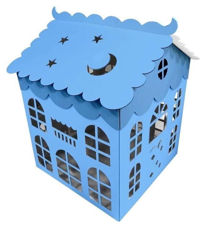 Коробка для воздушных шаров Домик, голубой, 70*70*70 см, 1 шт. Caramella