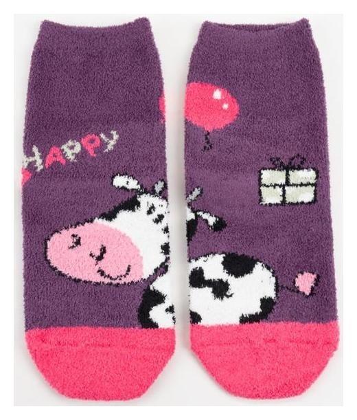 Носки женские махра-пенка нжмп2202-42-02 счастливая корова цвет фиолет, р-р 23-25 (р-р обуви HOBBY LINE