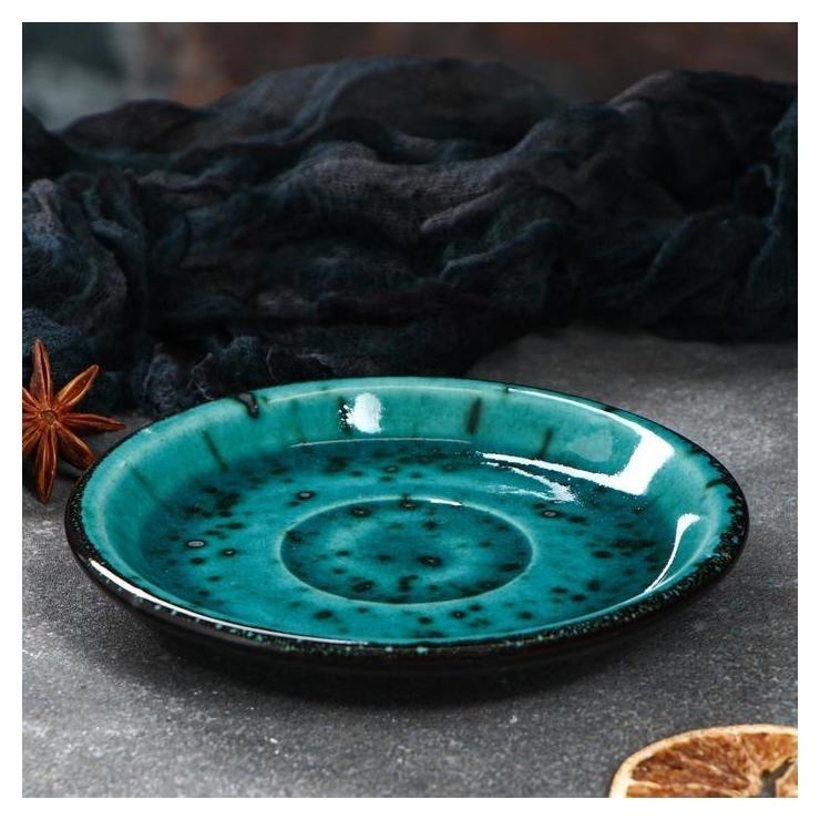 """Блюдце """"Тиффани"""", цвет бирюзовый, 14 см  Керамика ручной работы"""