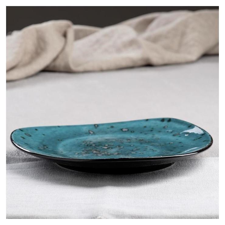 Тарелка Тиффани, цвет бирюзовый, 23 см Керамика ручной работы