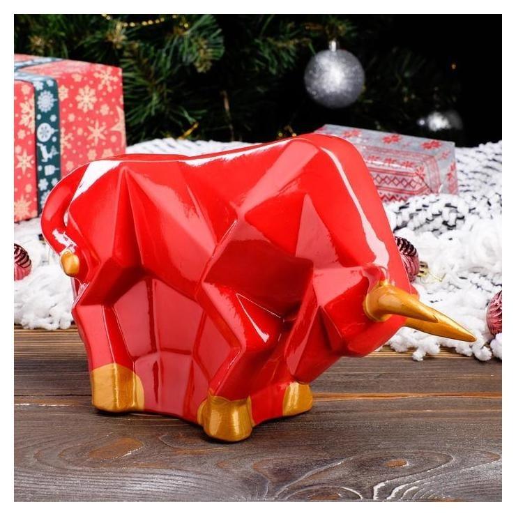 Копилка-оригами Бык, красный с золотом, 17 см Керамика ручной работы