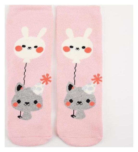 Носки женские махровые «Киса с зайкой» цвет розовый, р-р 23-25 (Р-р обуви 36-40) HOBBY LINE