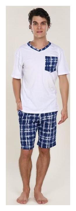 Костюм мужской (Футболка, шорты) Oazis, цвет белый/синий клетка, размер 60  Руся