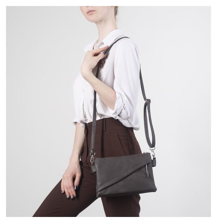 Сумка женская, 3 отдела на молнии, 2 наружных кармана, длинный ремень, цвет коричневый  Janelli