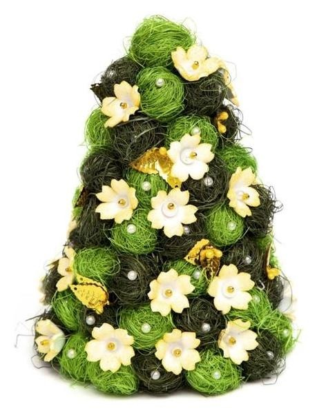 Ёлочка своими руками из сизаля «Рождество» жёлто- зелёная Волшебная мастерская