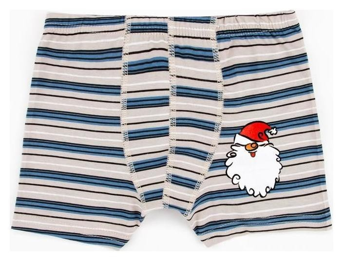 Трусы боксеры «Санта клаус» для мальчика, цвет серый/полоска, рост 128 см Зимнее волшебство