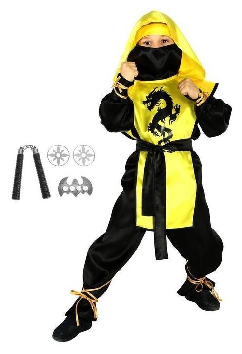Карнавальный костюм «Ниндзя: чёрный дракон» с оружием, р. 30, рост 116 см, цвет жёлтый  Страна Карнавалия