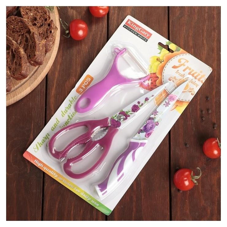 Набор кухонный «Цветение», 3 предмета: нож 12,5 см, ножницы, овощечистка, цвет фиолетовый  Арт узор