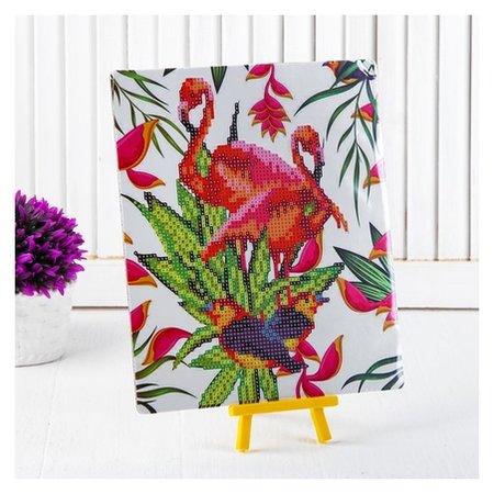 Алмазная вышивка с частичным заполнением «Пара фламинго с птичками», с подставкой, размер картины: 21 × 25 см  Школа талантов