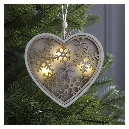 Подвеска световая Сердце и снежинки, 13х13х1 см, 3 Led, бат(В комп) т/белый LuazON