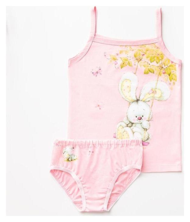 Комплект (Майка,трусы) для девочки, цвет розовый, рост 86-92 см  Luneva