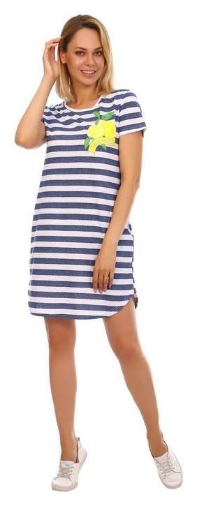 Туника женская «Лайм» цвет белый/синяя полоска, размер 50  Ирис