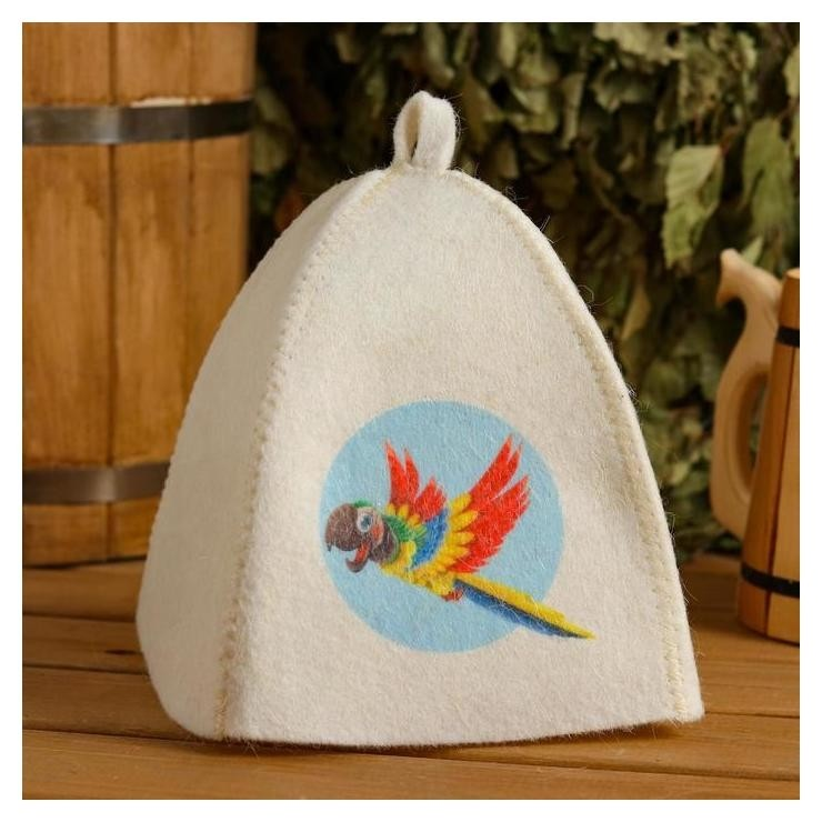 Шапка для бани и сауны детская Попугай, с принтом, белая Mark Formelle