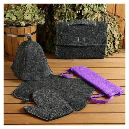 Набор для бани и сауны 5 в 1 (Сумка, шапка, варежка, коврик, мочалка), чёрный  Mark Formelle