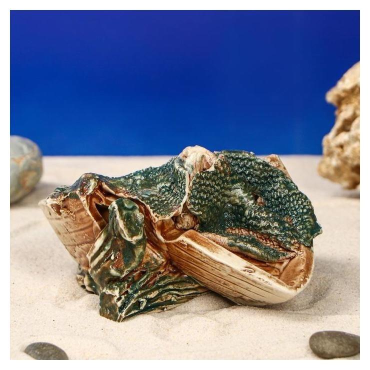 Декорация для аквариума Коряжка с лодочкой, 10 х 13 х 7 см Керамика ручной работы