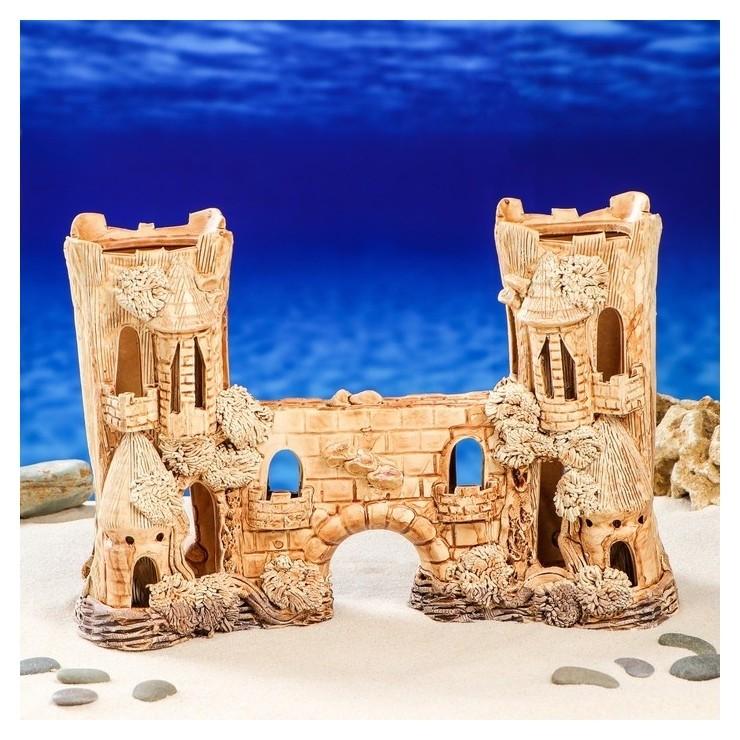 """Декорация для аквариума """"Замок двойной с аркой"""", 13 х 34 х 22 см  Керамика ручной работы"""